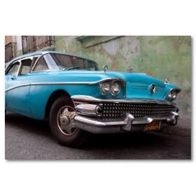 Αφίσα (Κούβα, αυτοκίνητο, κτίρια)